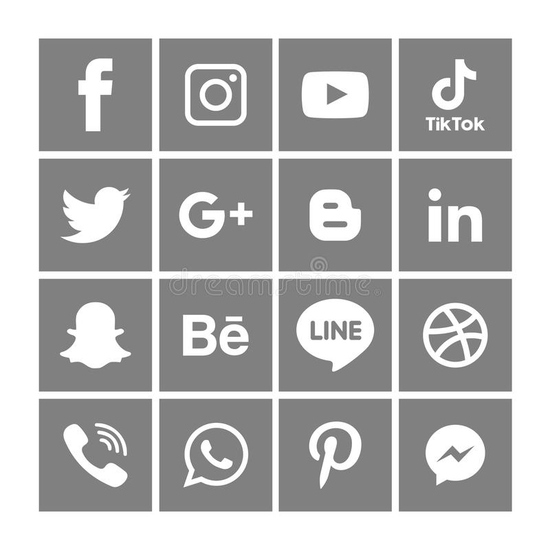 Gray Social media icons set Logo Vector Illustrator Background royalty free stock image