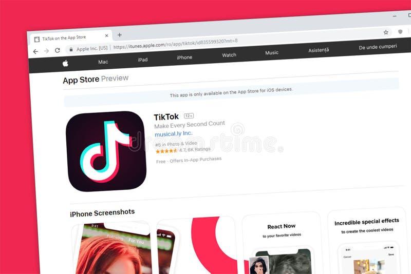 TikTok comprenant le musical IOS social App Store d'Apple d'application de médias de page d'accueil de site Web de la LY photographie stock