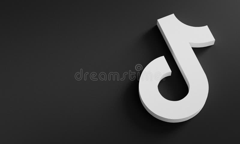 TikTok Logo Minimal Simple Design Template. Copy Space 3D stock photos