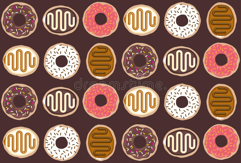Tasty doughnut pattern stock images