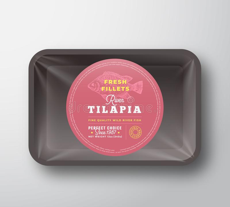 Free Tilapia Fillets. Abstract Vector Plastic Tray With Cellophane Cover Packaging Design Round Label Or Sticker. Retro Stock Photography - 147505382