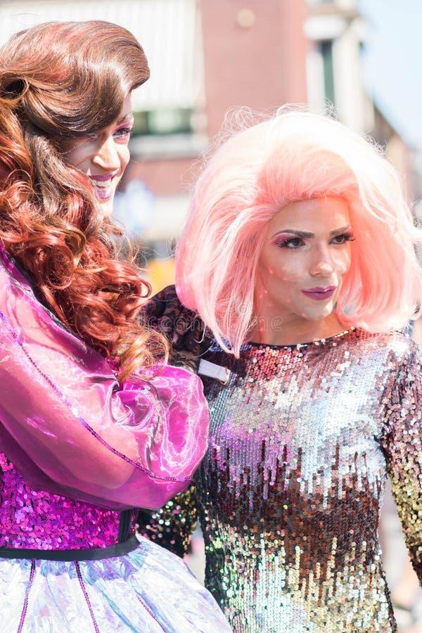 Tilburg, Netherlands - 22.07.2019: couple of transgender man in spectacular costumes at Roze Mandaag - gay, lgbt pri stock photography