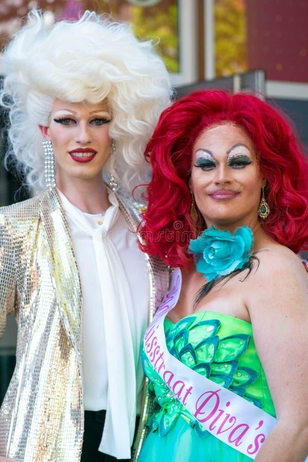Tilburg, Netherlands - 22.07.2019: couple of transgender man in spectacular costumes at Roze Mandaag - gay, lgbt pri. Tilburg, Netherlands - 22.07.2019: couple stock image