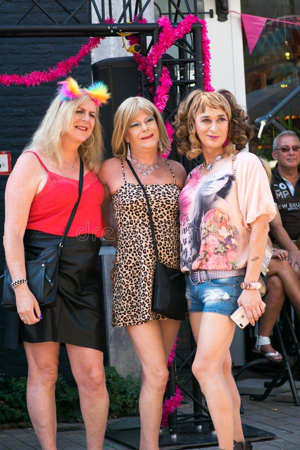 Tilburg, Netherlands - 22.07.2019: couple of transgender man in spectacular costumes at Roze Mandaag - gay, lgbt pri stock images