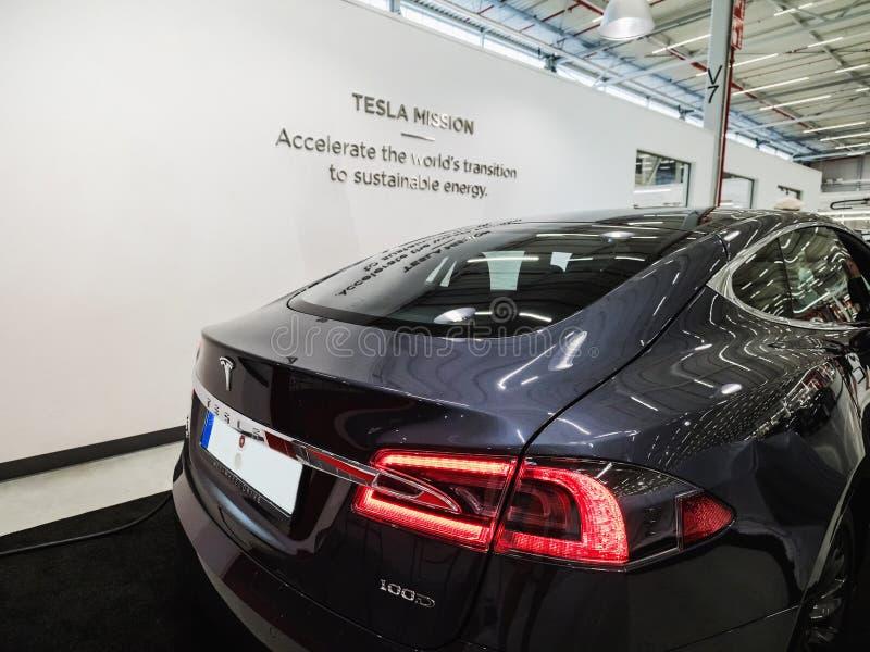 TILBURG, NETHERLANDS - MAY 31, 2018: Tesla Model S 100D. Tesla Motors Assembly Plant in Tilburg, Netherlands. royalty free stock image
