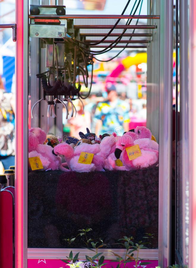 Tilburg, Netherlands - 22.07.2019: Tilburgse Kermis   plush toy machine on fair market in Tilburg. Tilburg, Netherlands - 22.07.2019: Tilburgse Kermis stock image
