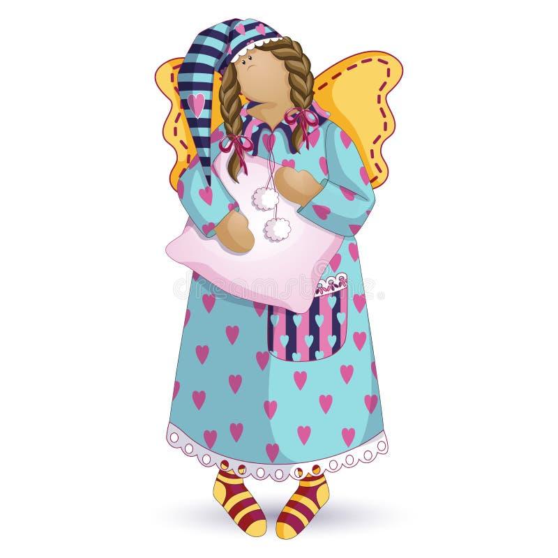 Tilda玩偶 在她的女睡袍的困天使和有一个袋子的一个镶边盖帽在他的手上 传染媒介在白色的漫画人物 向量例证