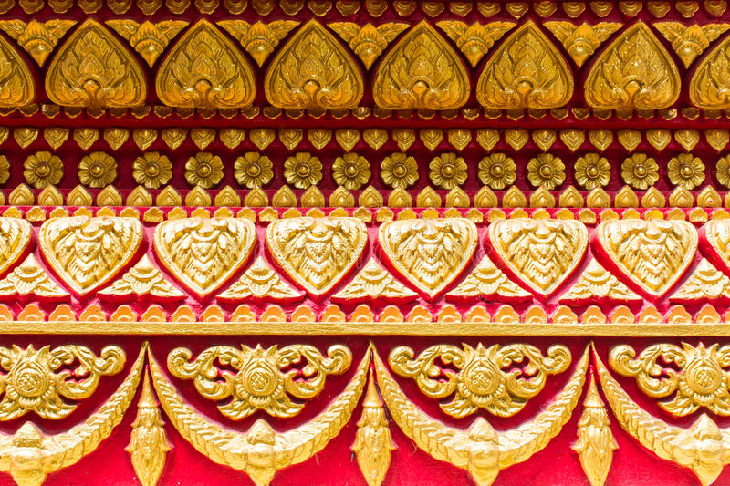 Tile Art On The Temple Wall, Thai Style Stock Image - Image of ...