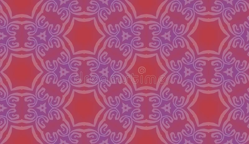 Tile background pattern with symmetric ornament of violet hexagons. Geometric seamless design template with red and purple stock illustration
