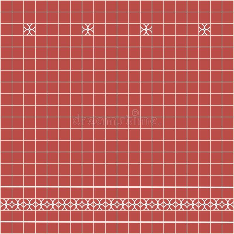 Tile decoration. Red square tiles with decor. Interior design for kitchen, bathroom, toilet. Background pattern. Decor element. vector illustration