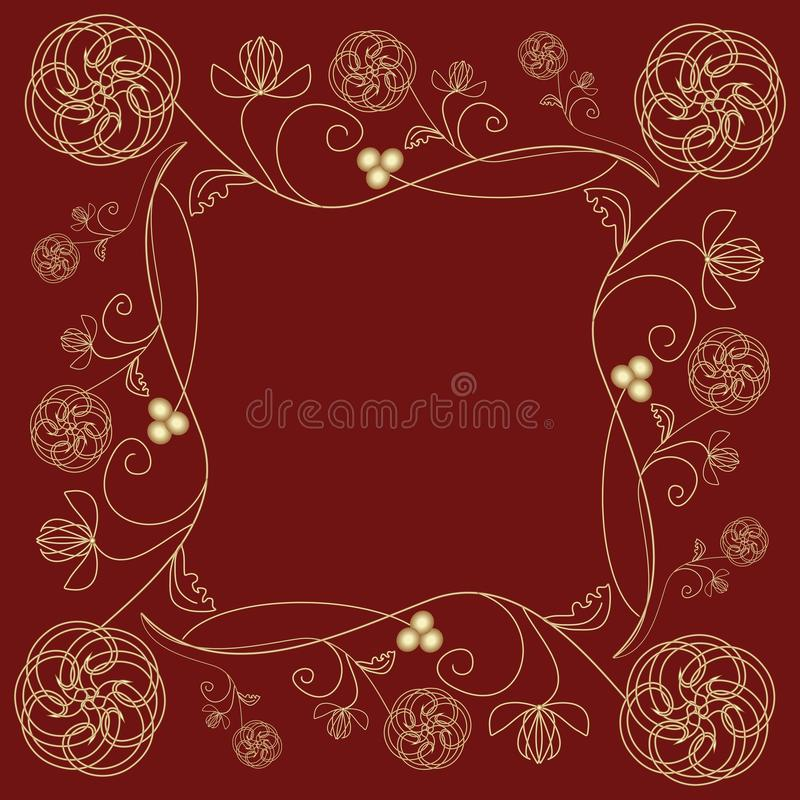 Tile With Fine Golden Flower Motif In Art Deco Style On Dark Red ...