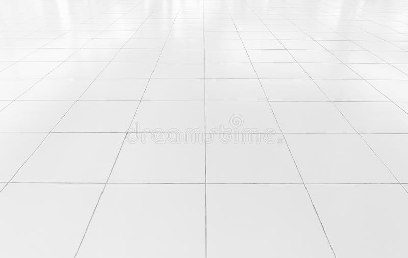 Tile floor background. White tile floor clean condition with grid line for background stock photo