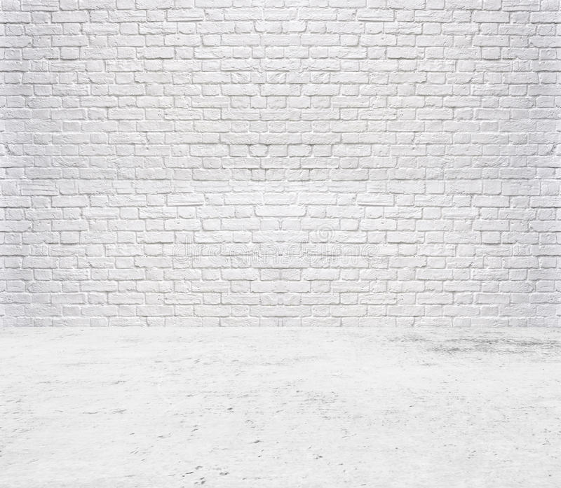tile floor and brick white wall background royalty free stock image