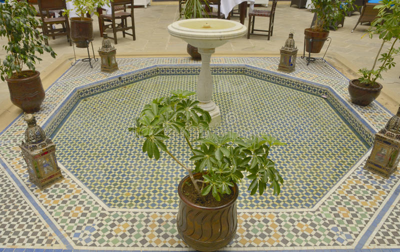 Tile Fountain In Patio Stock Photography