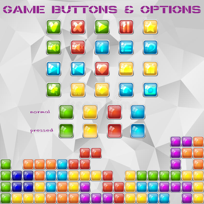 Tile game glass buttons and options vector illustration
