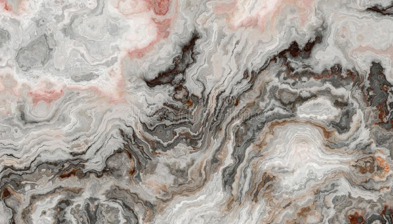 Onyx Tile texture. The tile of grey Onyx abstract texture with rose inclusions. Colorful background. 2D illustration. Natural beauty stock images