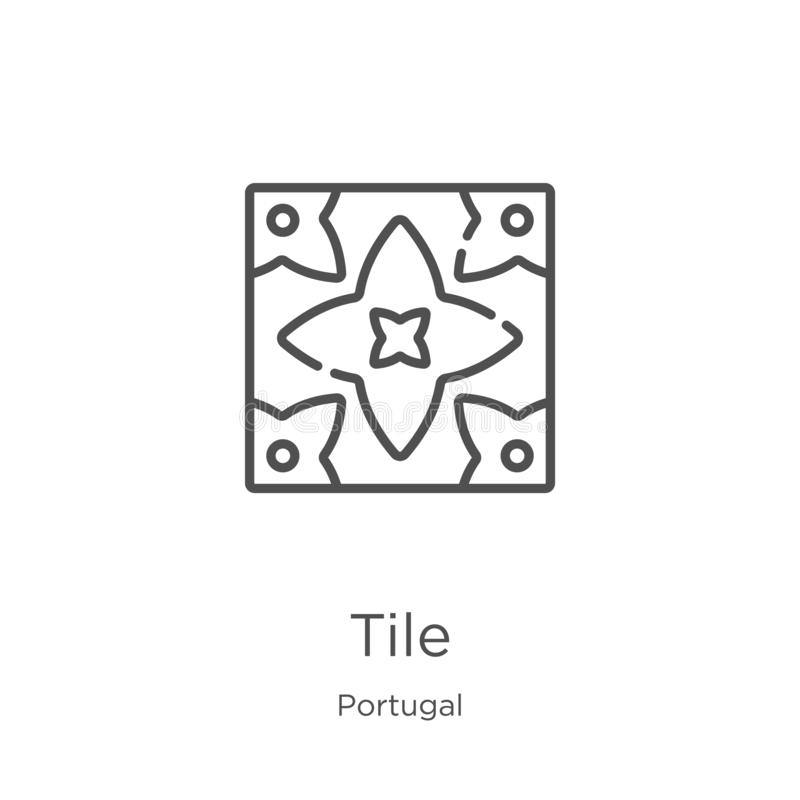 tile icon vector from portugal collection. Thin line tile outline icon vector illustration. Outline, thin line tile icon for vector illustration