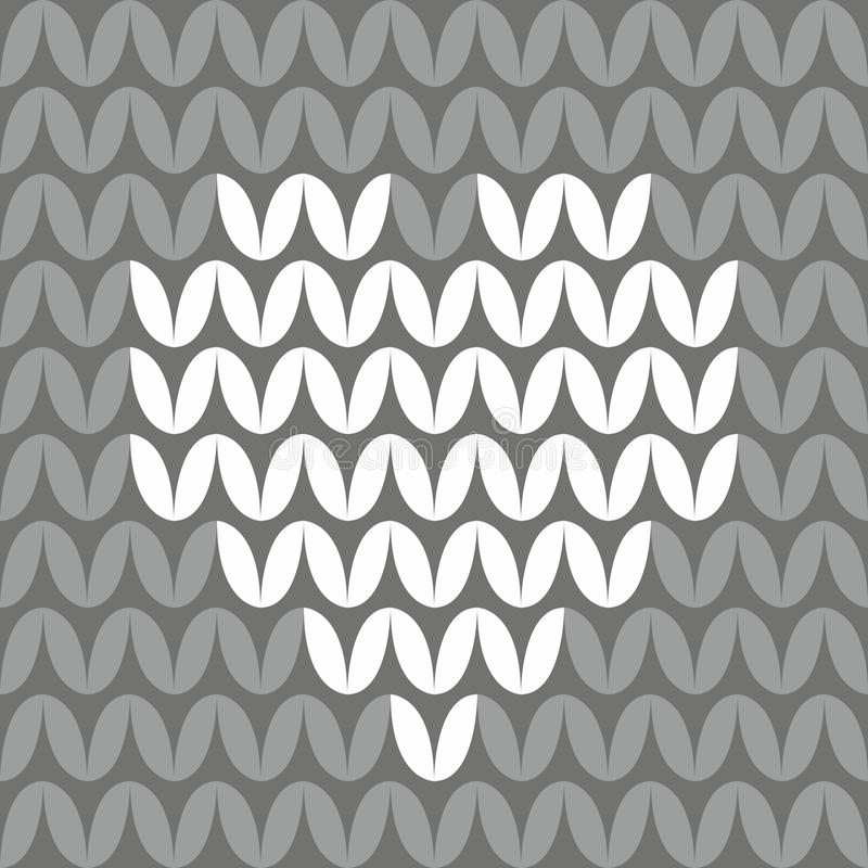 Tile knitting vector pattern with white heart on dark grey background. For seamless decoration wallpaper vector illustration