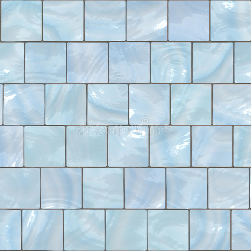Tile Mosaic Background. Background mosaic design of shiny tile boxes or cubes in blue and white tones. Can be tiled seamlessly stock illustration