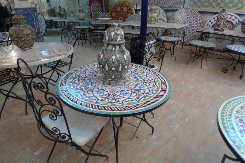 Tile and mosaic craftsmanship is very advanced in Casablanca, Morocco. Back streets of MoroccoTile and mosaic craftsmanship is very advanced in Casablanca royalty free stock photography