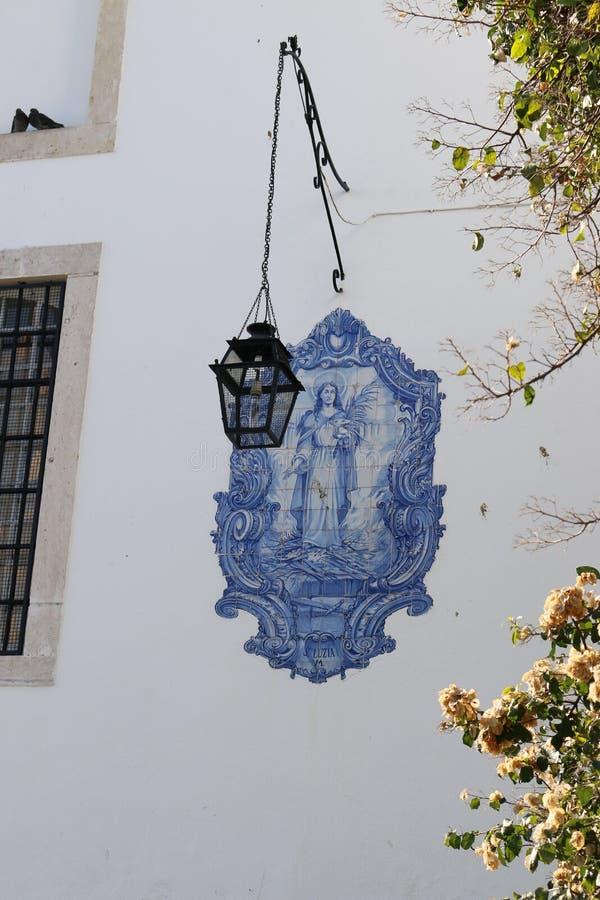 Tile panel of the Church of Santa Luzia - Lisbon - Portugal royalty free stock photo