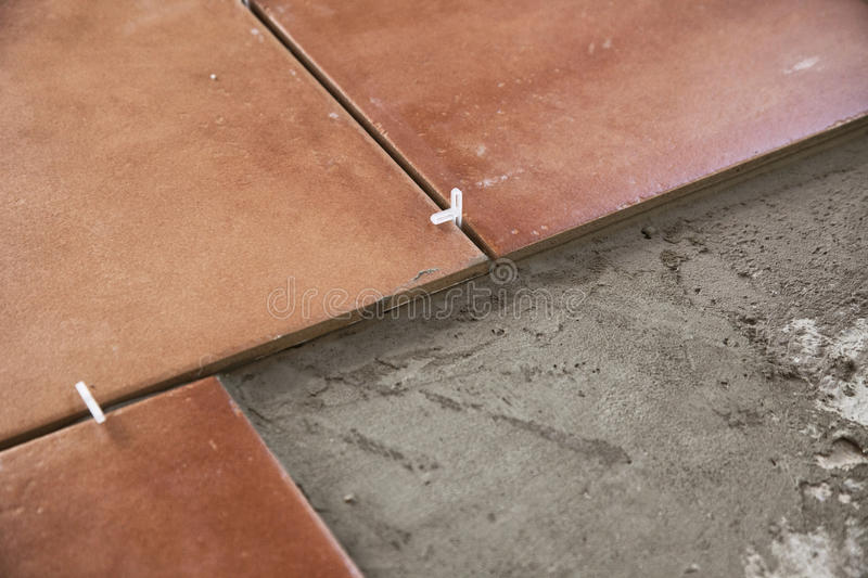 Tile Partial. Partial installation of red tile stock images