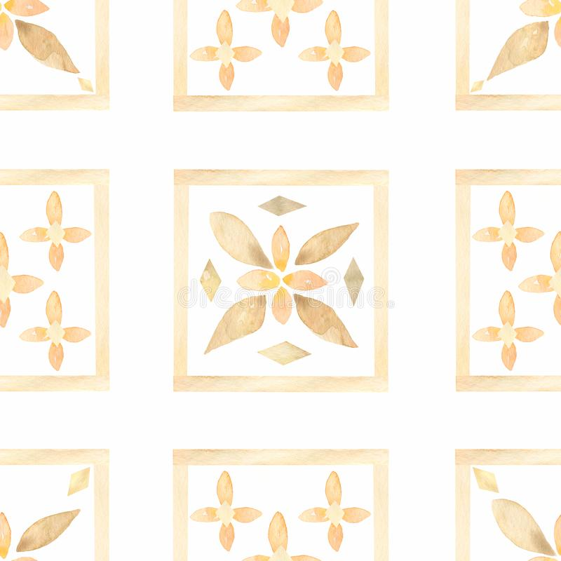 Tile pattern in delicate colors.Watercolor hand drawn seamless tiles pattern. Indian patchwork. Turkish ornament. Moroccan tile stock illustration