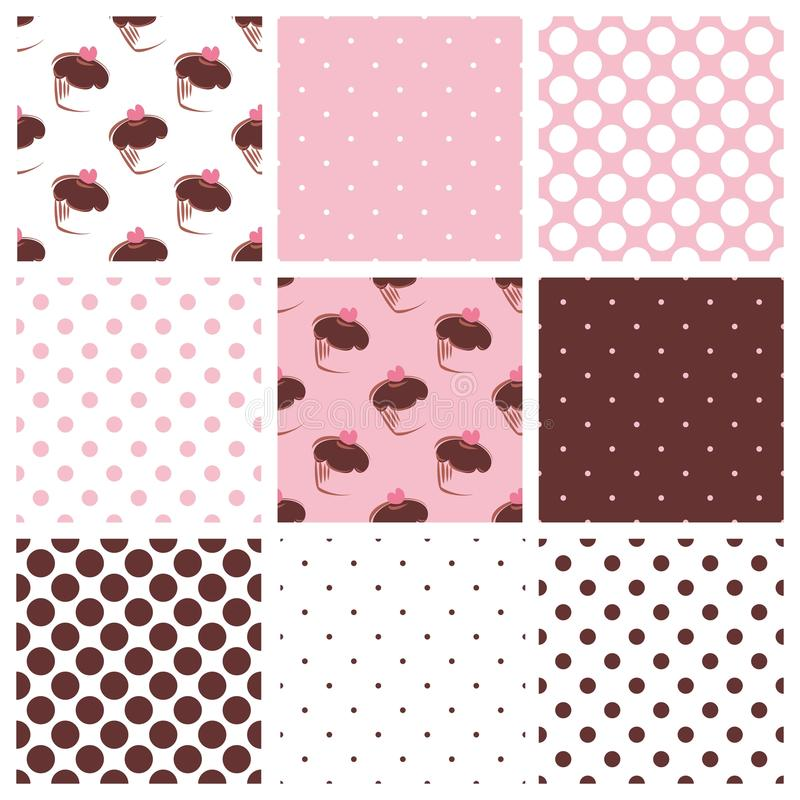 Tile vector pattern set with cupcakes and polka do vector illustration