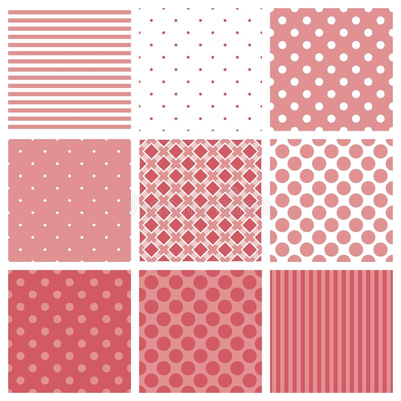 Tile vector pattern set with pink and white plaid, stripes and polka dots background stock illustration