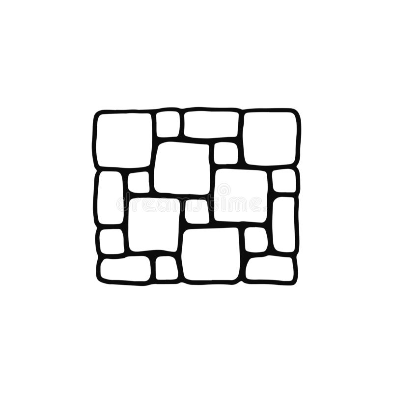 Tile pavement icon. sketch isolated object black.  royalty free illustration