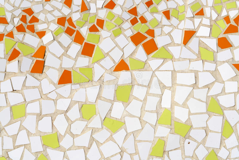 Tile peaces background. Background of white, green and orange tile pieces stock illustration