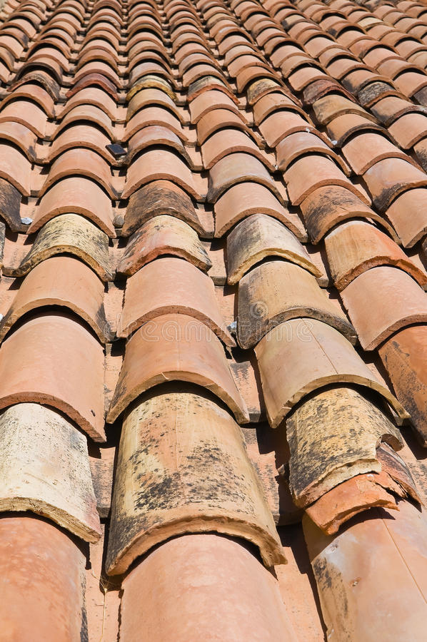 Tile roof. Close up of a tile roof stock images