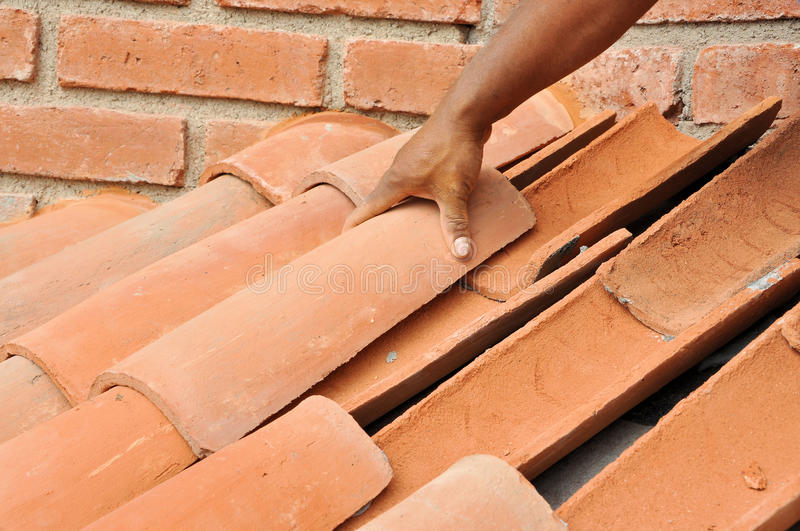 Tile roof installation royalty free stock photography