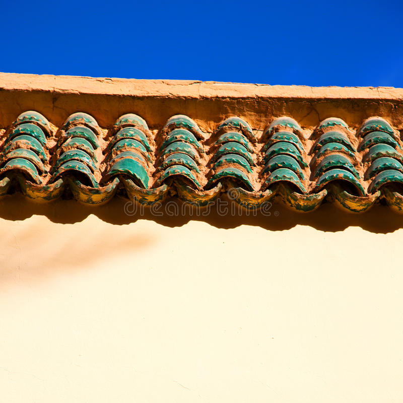 tile roof moroccan old wall and brick in antique city royalty free stock photos