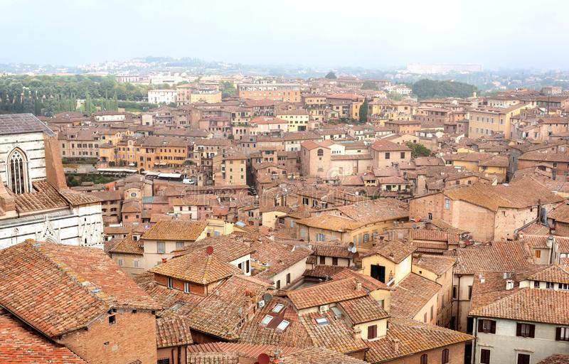 Tile roofs of city Siena of Italy. Tuscany old houses. And cityscape on background stock photography
