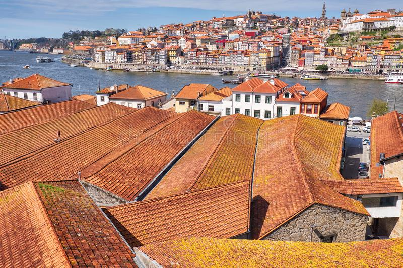 Tile roofs in the old town of Porto. Portugal royalty free stock image
