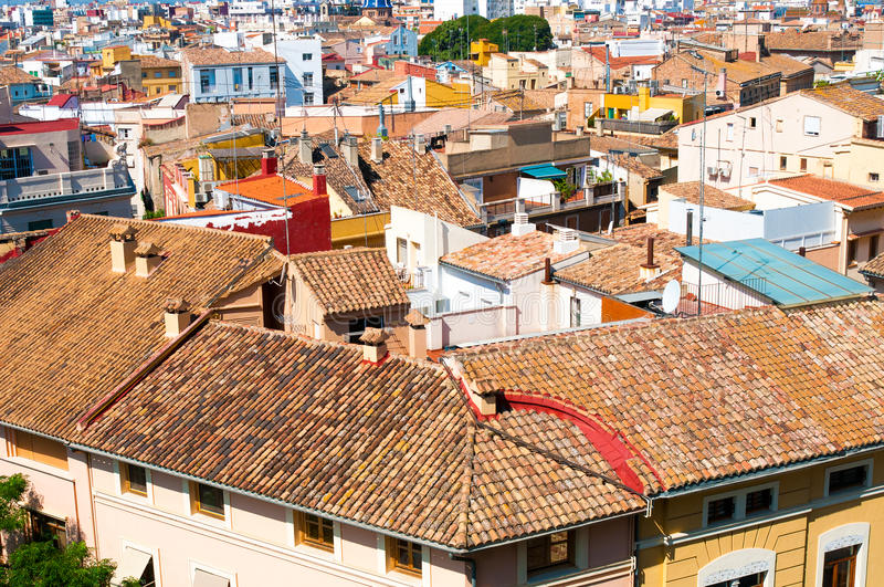 Tile roofs. In Valencia, Spain stock image