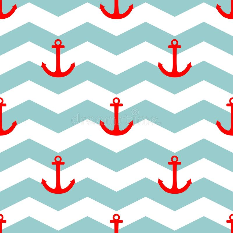 Tile sailor vector pattern with red anchor on white and blue stripes background. For seamless decoration wallpaper vector illustration