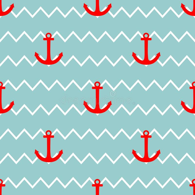 Tile Sailor Vector Pattern With Red Anchor On White And ...