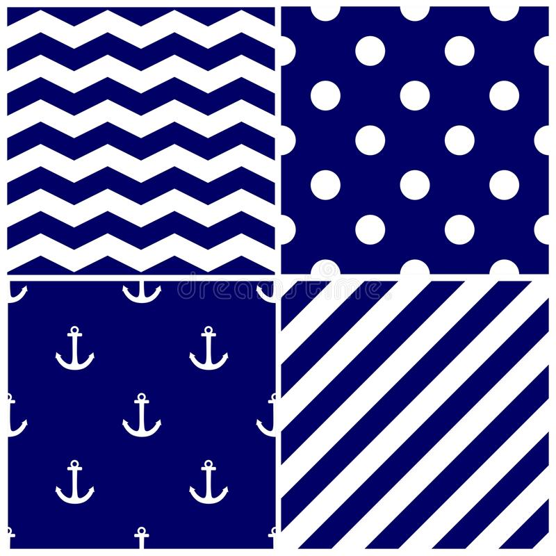 Free Tile Sailor Vector Pattern Set With White Anchor, Polka Dots, Zig Zag And Stripes On Navy Blue Background Stock Photos - 109480023