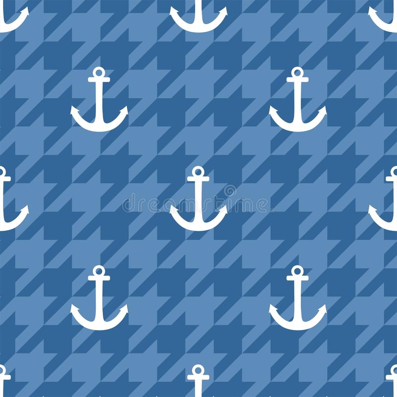 Free Tile Sailor Vector Pattern With White Anchor On Blue Houndstooth Background Royalty Free Stock Photo - 74171565