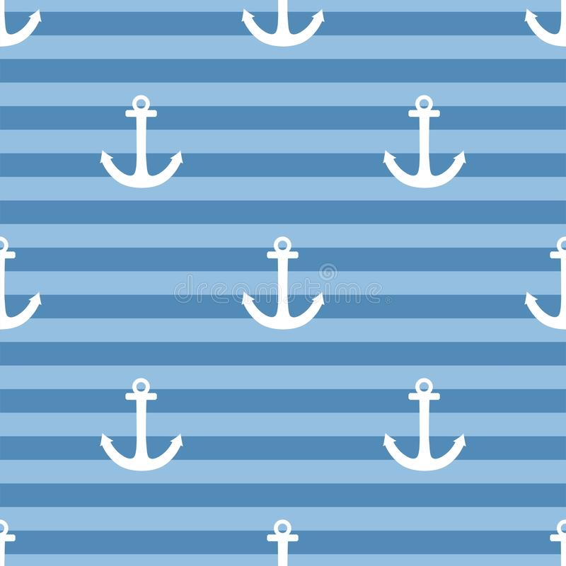 Free Tile Sailor Vector Pattern With White Anchor On Navy Blue Stripes Background Stock Images - 62506464