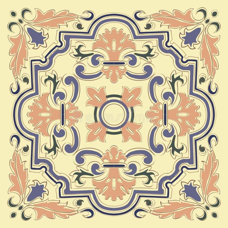 Tile slab blue beige ornament pattern vector illustration