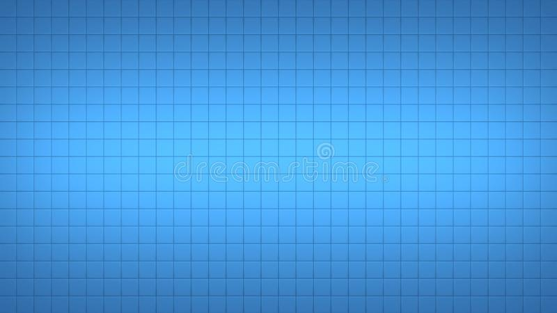 Tile Square Wall Pattern Background Blue. 3d render simple straight illustration of squares. Geometric abstract background of blue color. Tile wallpaper royalty free illustration