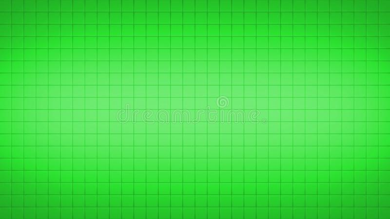 Tile Square Wall Pattern Background Green. 3d render simple straight illustration of squares. Geometric abstract background of green color. Tile wallpaper stock illustration