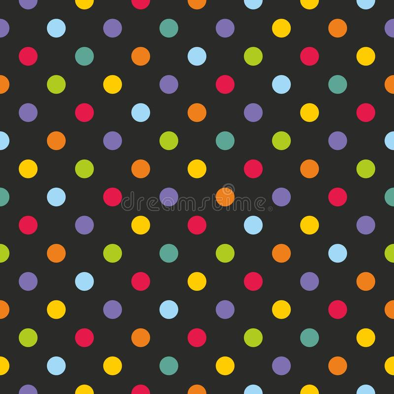 Tile vector pattern with colorful polka dots royalty free illustration