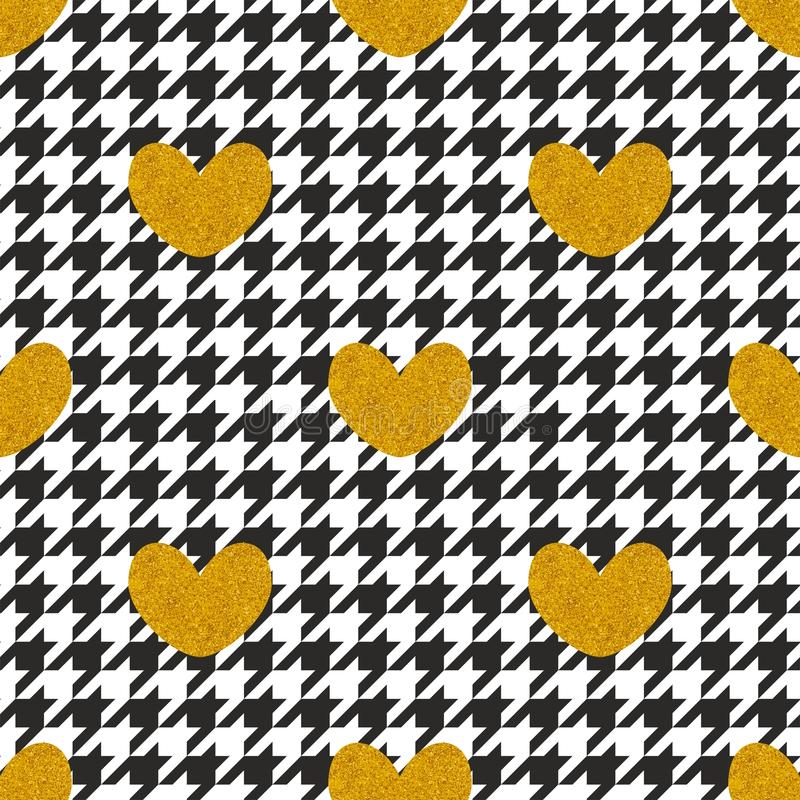 Tile vector pattern with golden hearts and black and white houndstooth background stock illustration