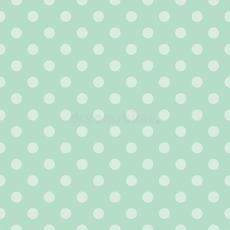 Tile vector pattern with mint green polka dots. Seamless vector pattern with light green polka dots on a retro vintage mint green background. For desktop royalty free illustration