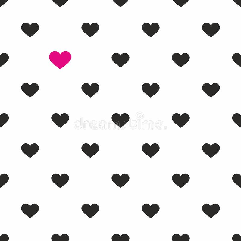Tile Vector Pattern With Pink And Black Hearts On White Background Stock Vector Illustration Of Decoration Sweet 60904190