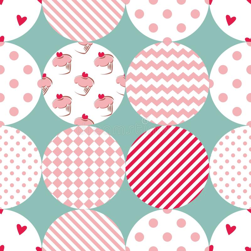 Tile vector pattern with polka dots, plaid and strips on pastel background stock illustration